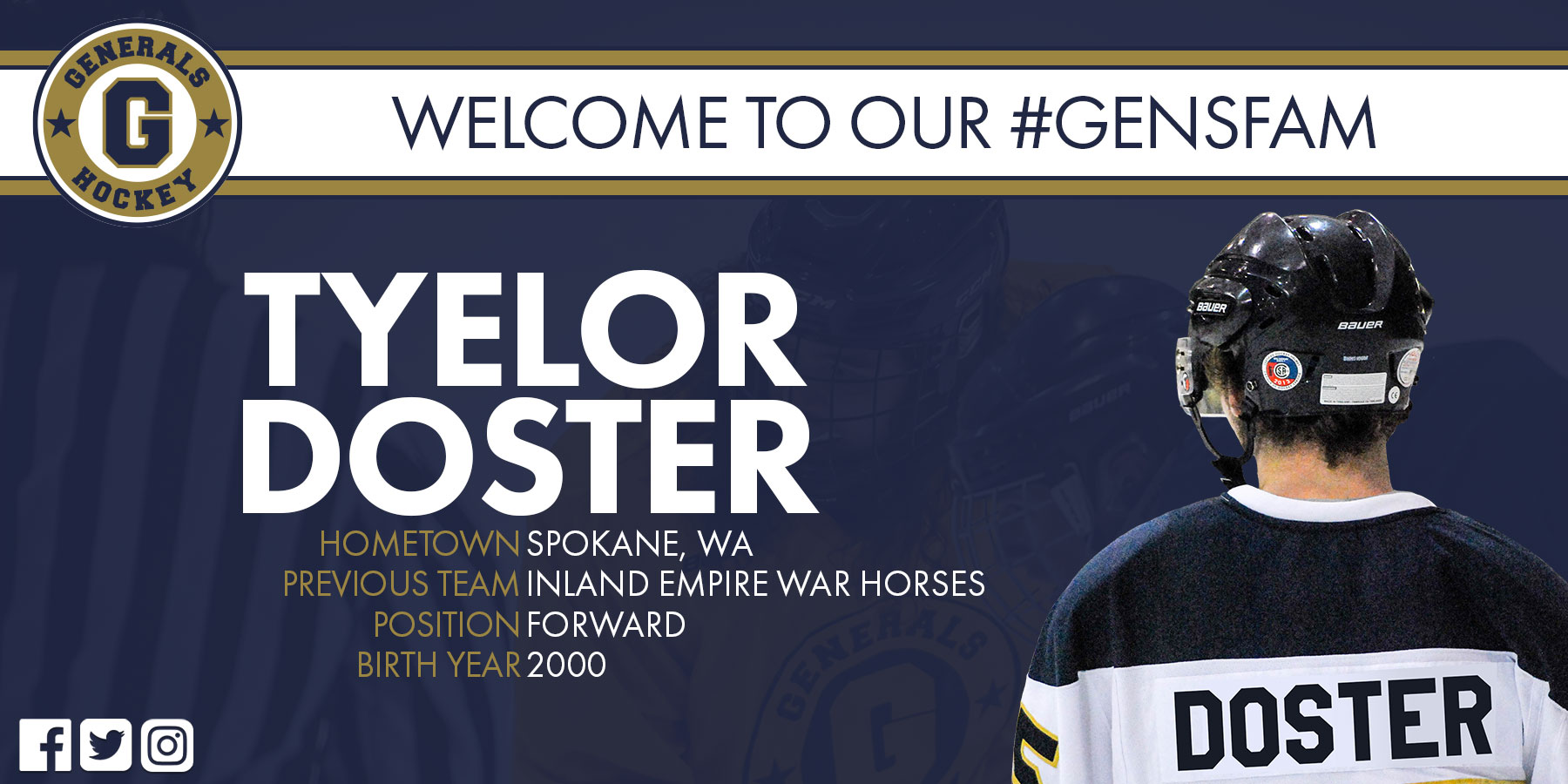 Generals Sign Forward Tyelor Doster