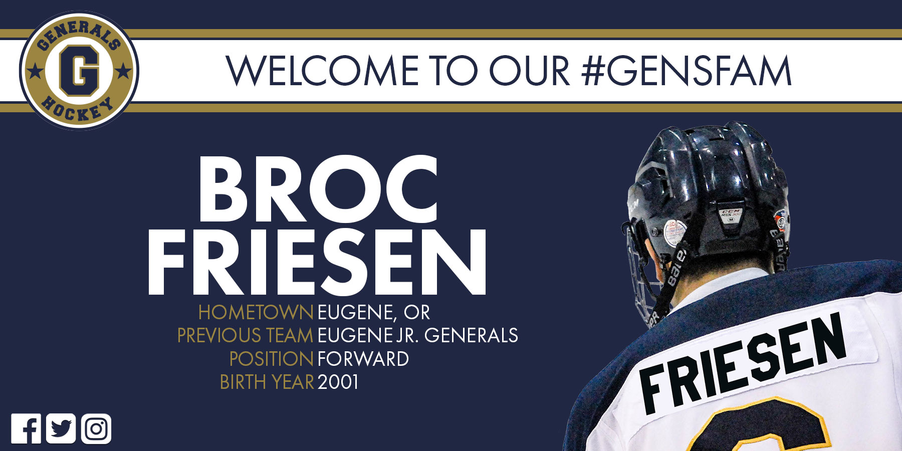 Generals Sign Homegrown Forward Broc Friesen