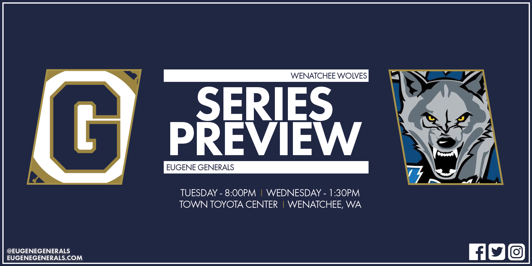 Series Preview - Wolves Welcome Generals To Wenatchee